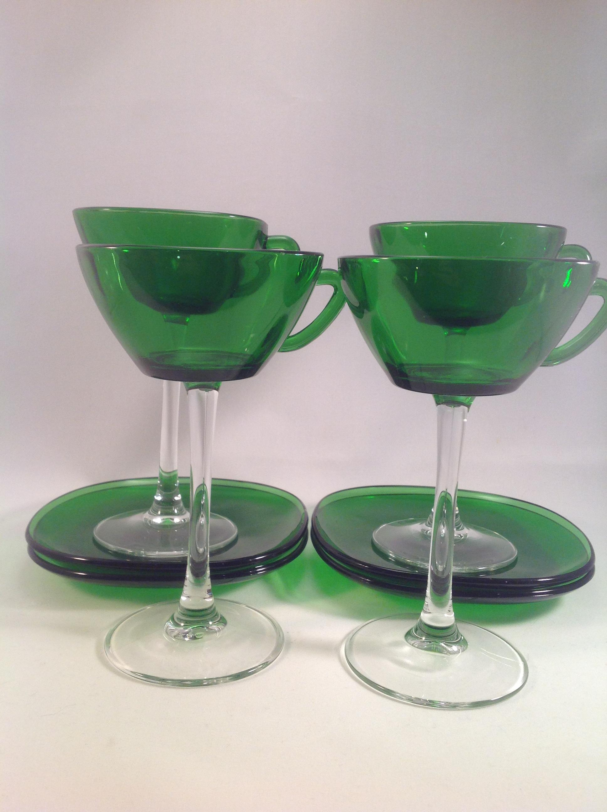 Emerald French Arcoroc Set of Four
