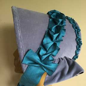 1840s bonnet of velvet and silk