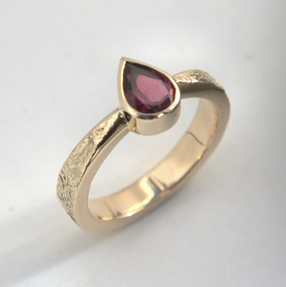 Rubelite gold ring