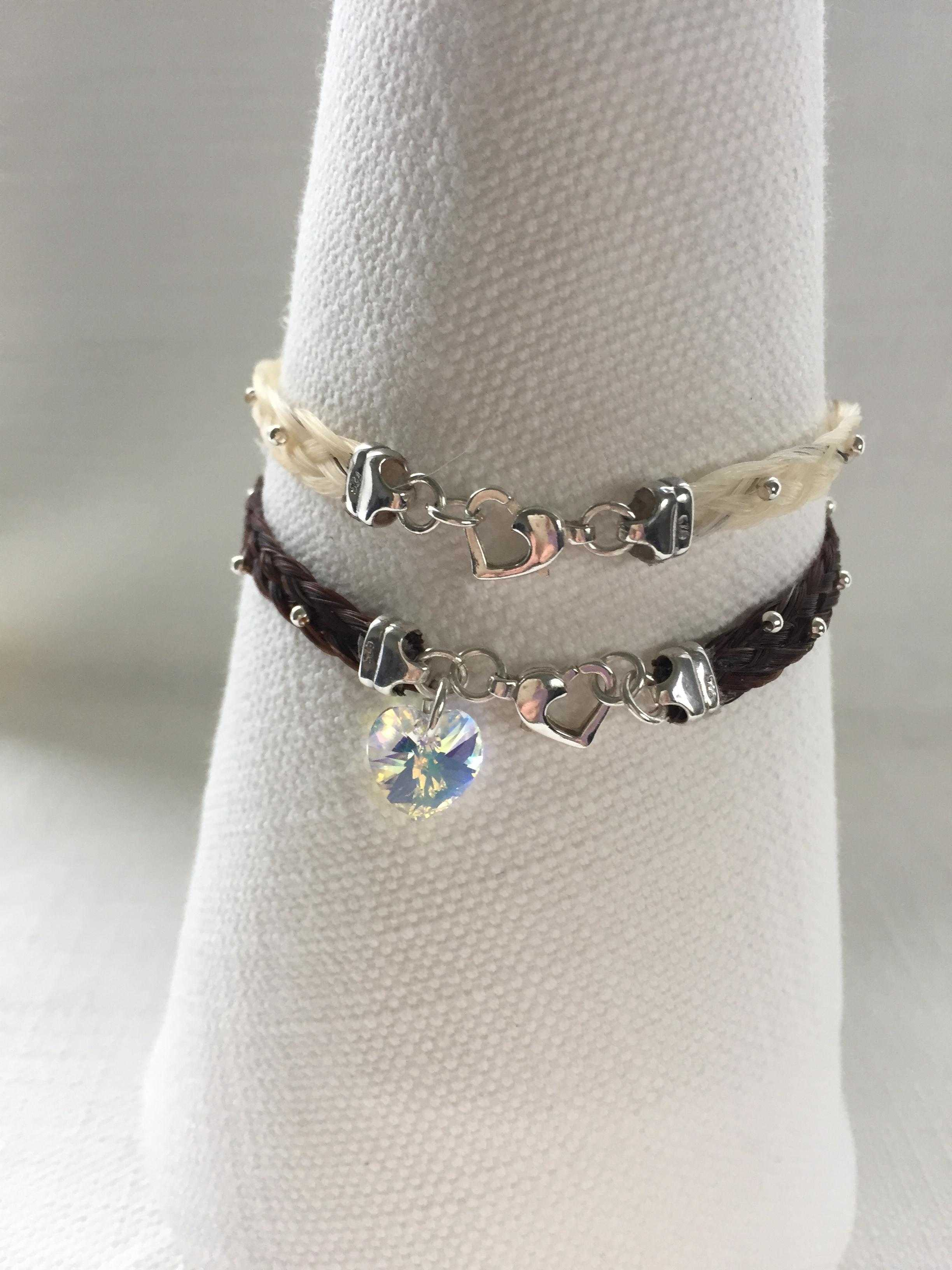 Horse Hair Bracelets with Crystal Charm