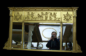 gilt triple plate over mantle mirror