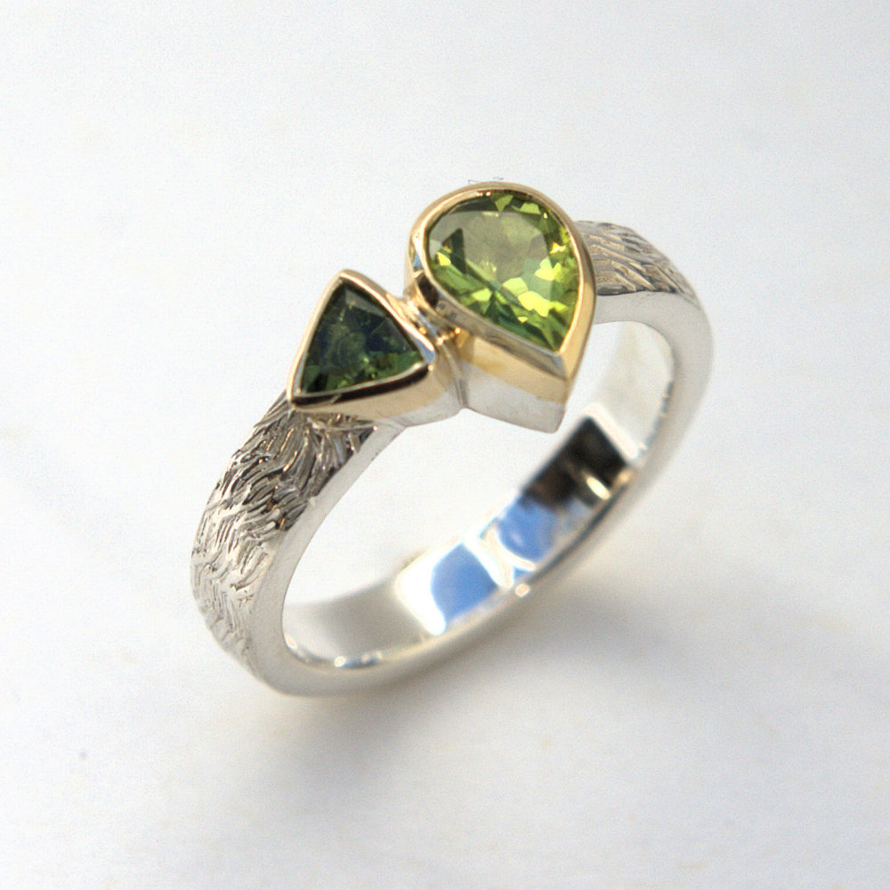 Peridot and Tourmaline ring