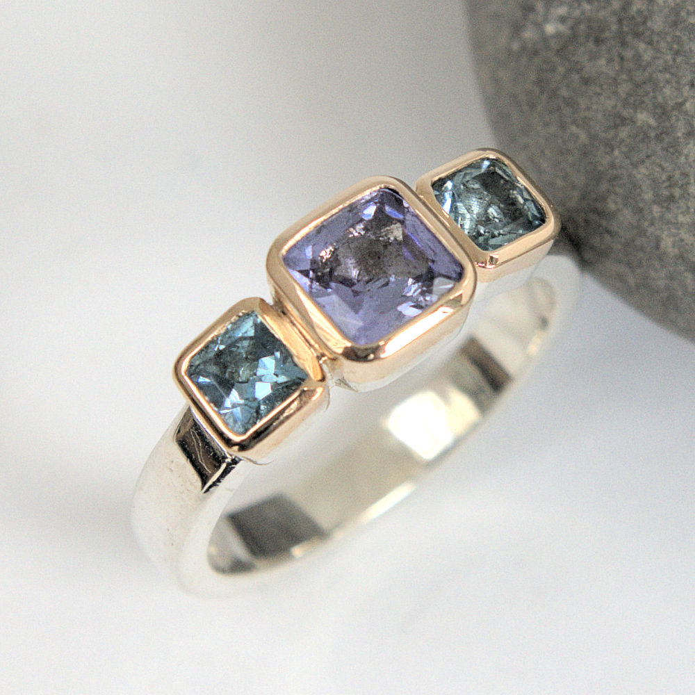 Tanzanite aquamarine ring