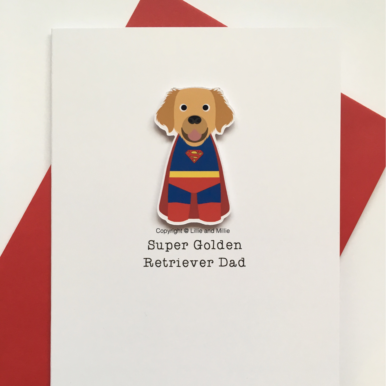 Cute and Cuddly Super Golden Retriever Dad Card
