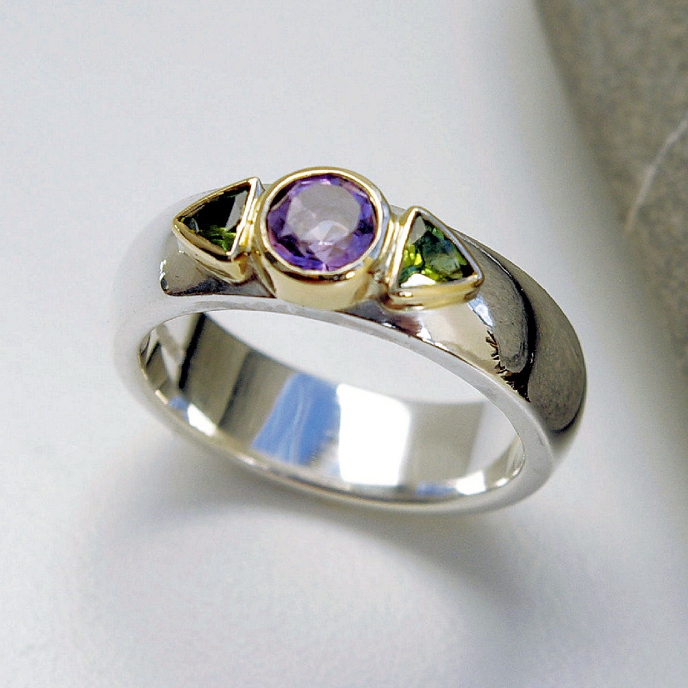 Amethyst & green Tourmaline