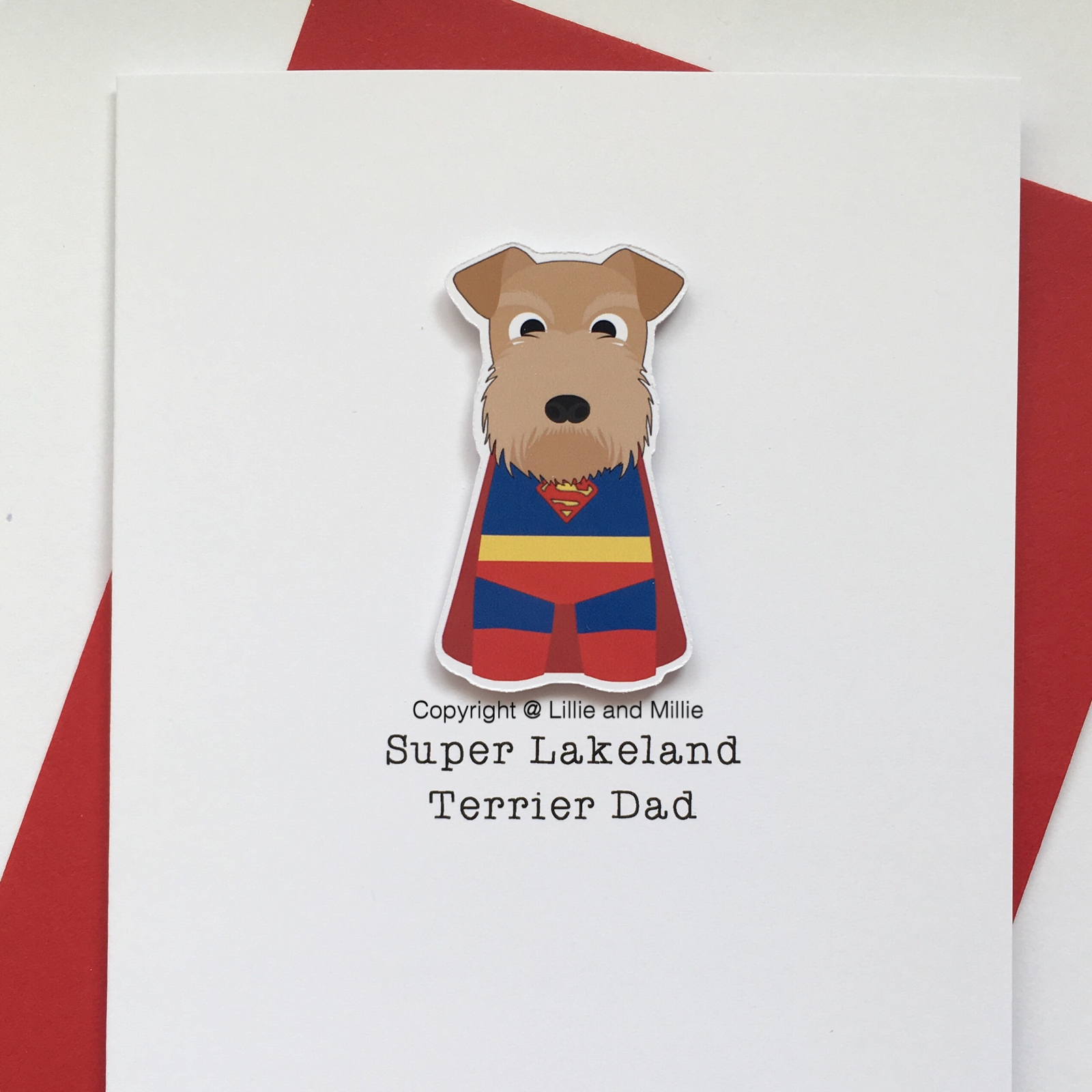 Cute and Cuddly Super Lakeland Terrier Dad Card