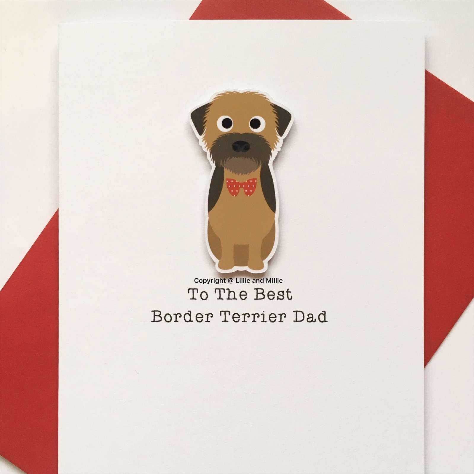 Cute and Cuddly Sitting Border Terrier Best Dad Card