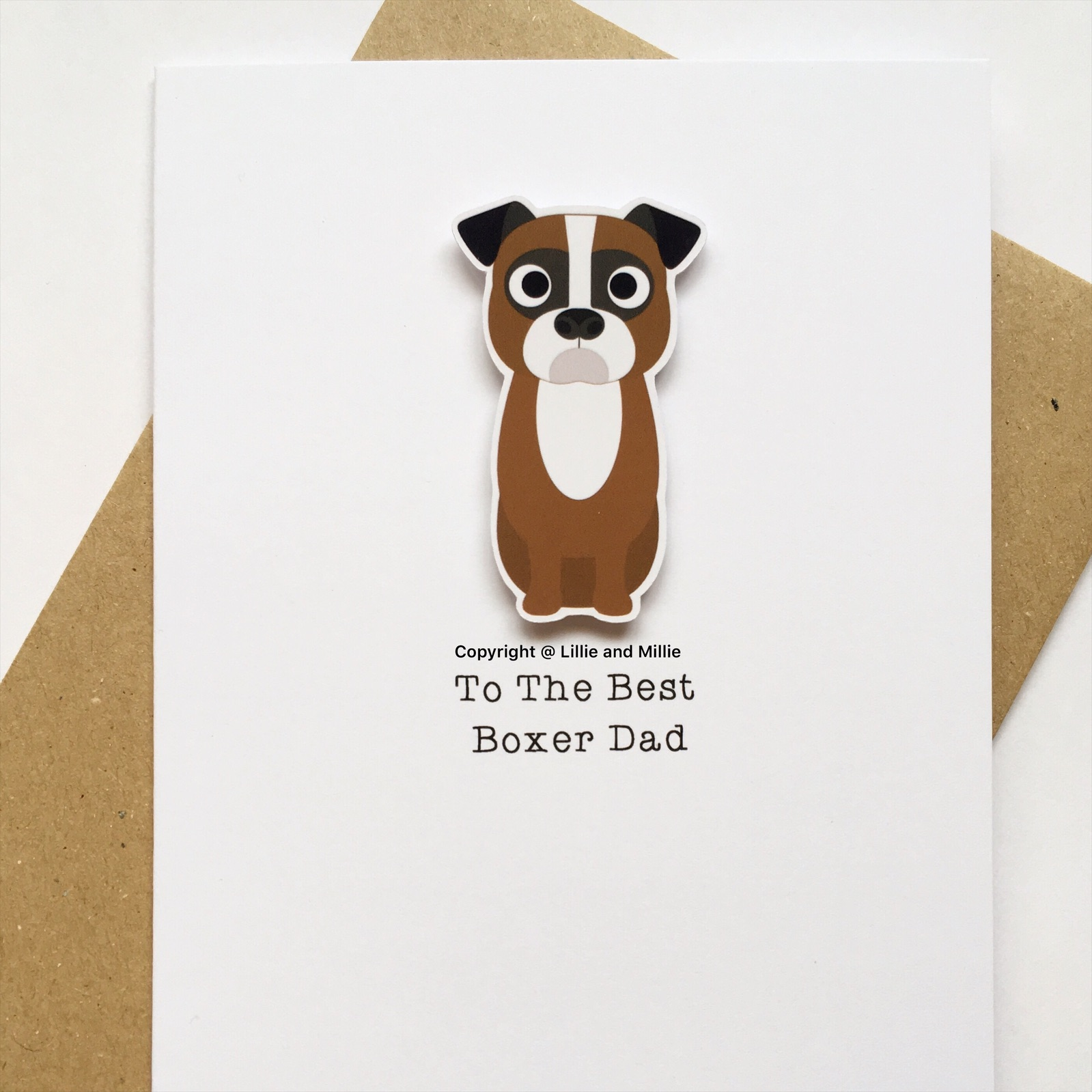 Cute and Cuddly Sitting Boxer Best Dad Card