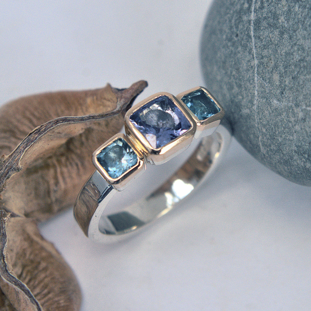 Tanzanite and Aquamarine ring