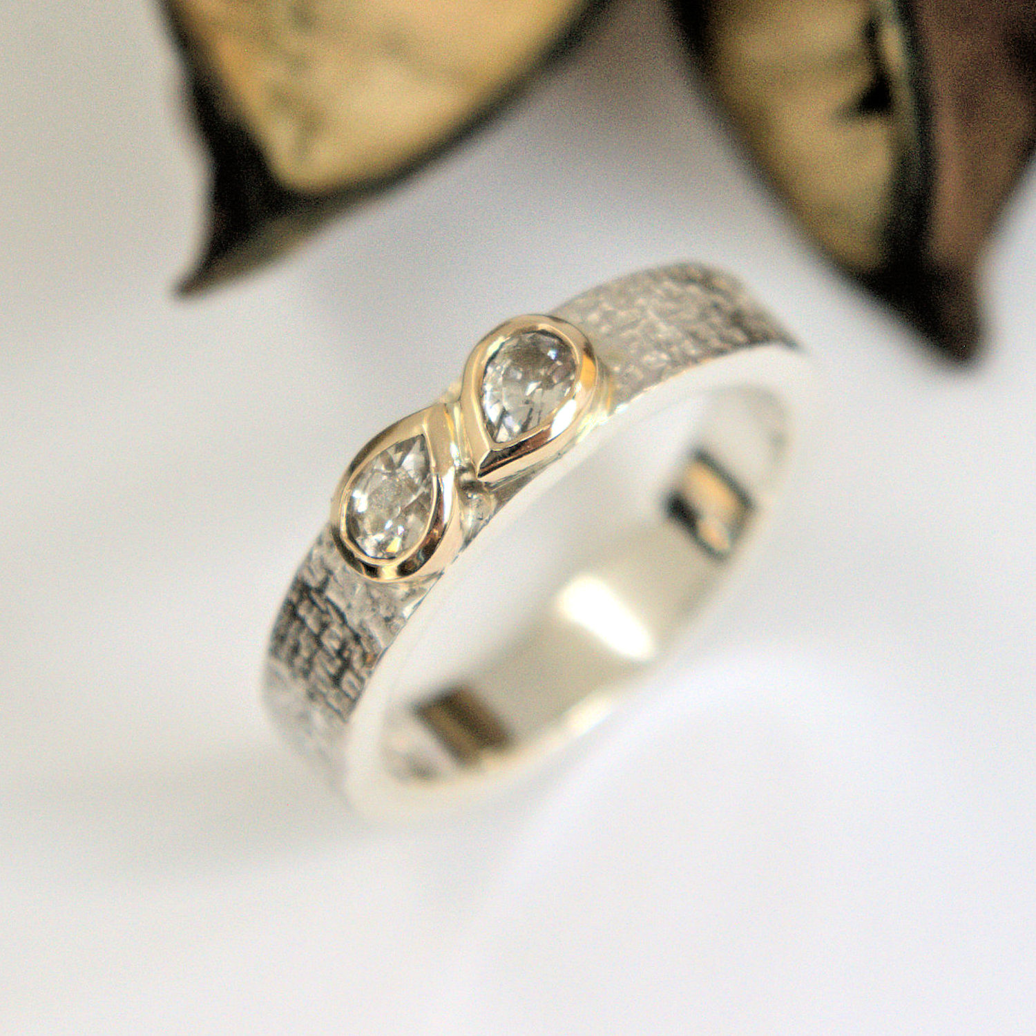 White Sapphire gold and silver ring