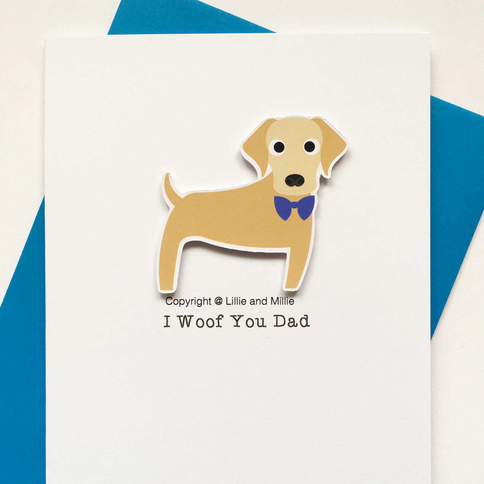 Cute and Cuddly Yellow Labrador I Woof You Dad Card