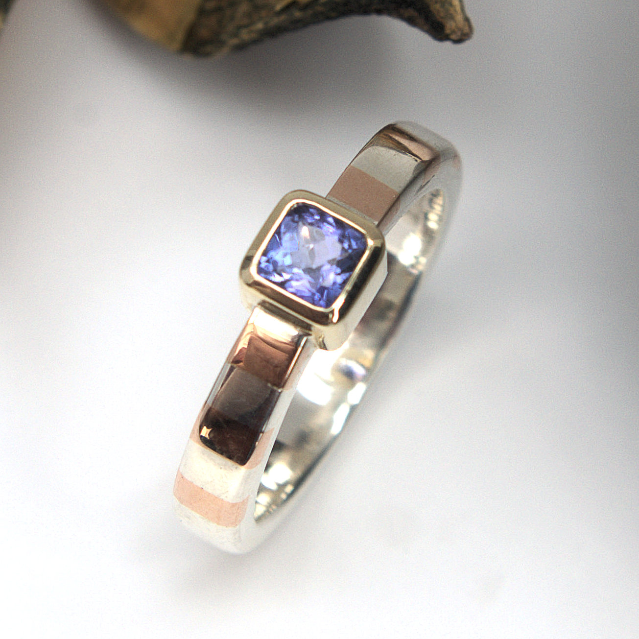 Tanzanite gold silver ring