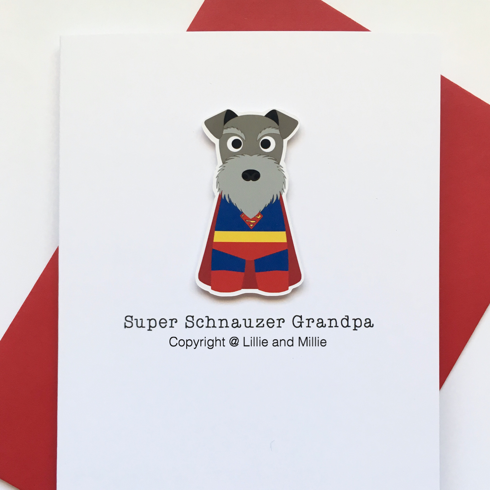 Cute and Cuddly Salt and Pepper Super Schnauzer Grandpa Card