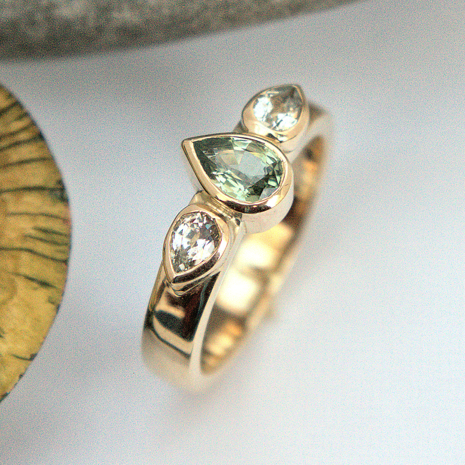 Green & white Sapphire ring