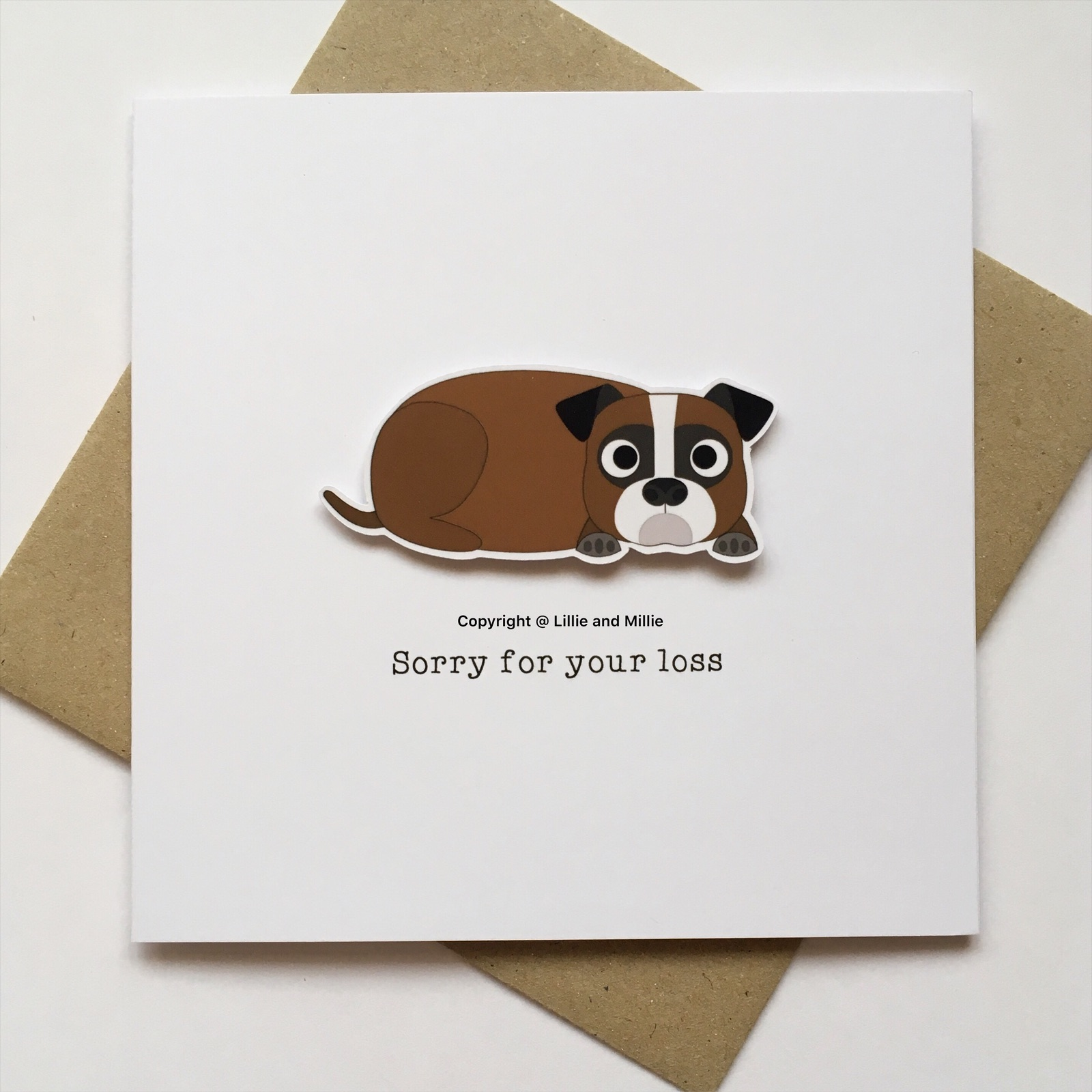 Cute and Cuddly Square Boxer Sorry For Your Loss Sympathy Card