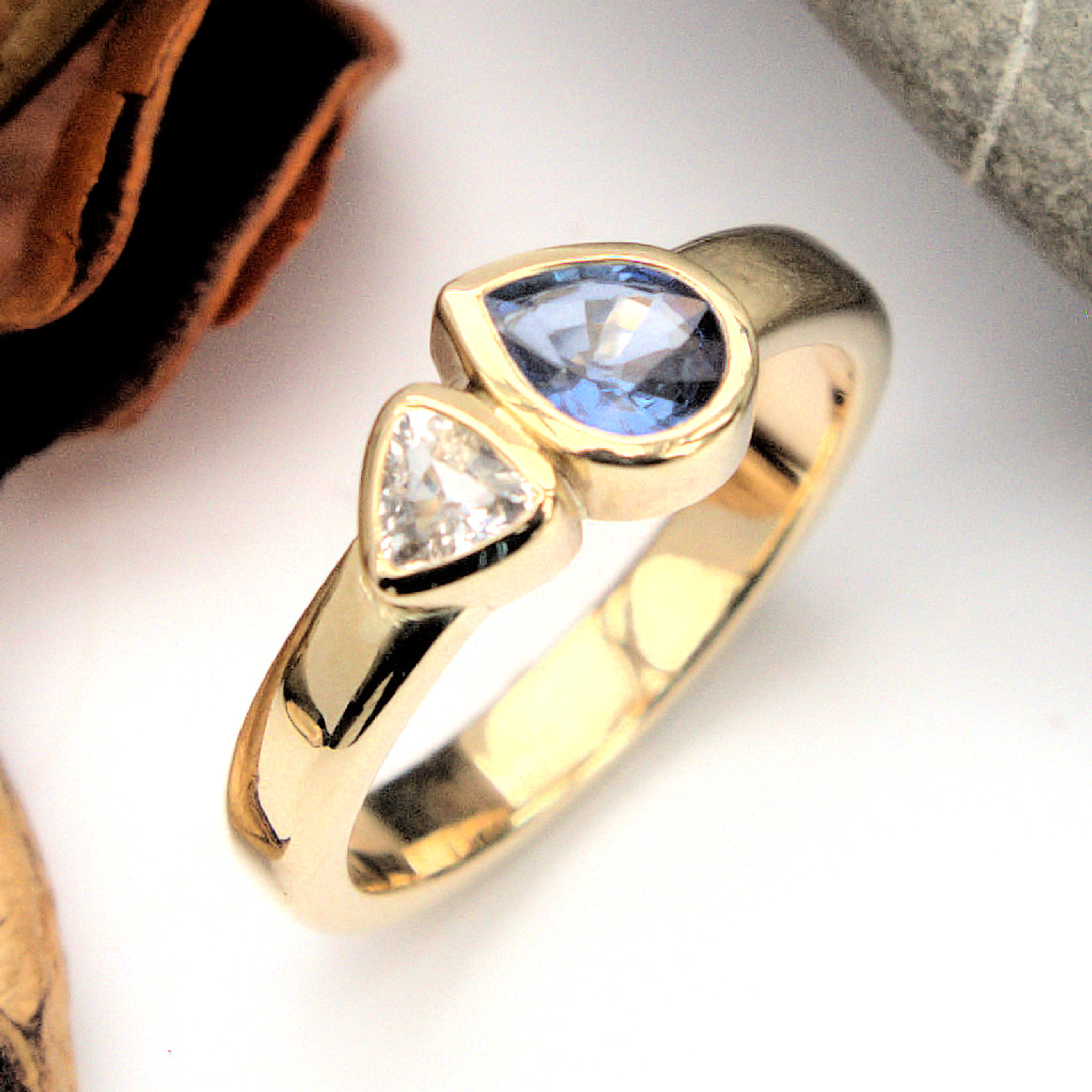 Blue and white sapphire ring