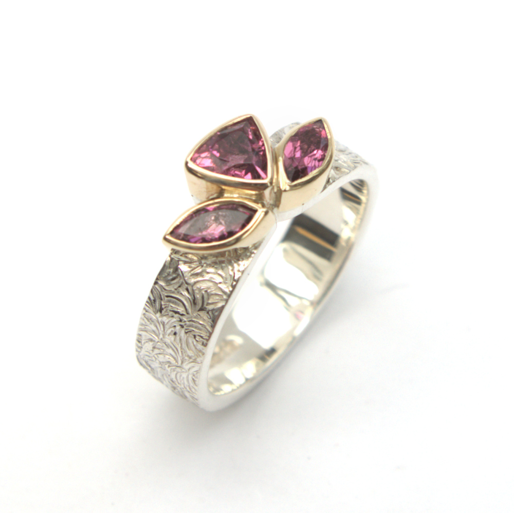 Pink Topaz Silver and gold ring