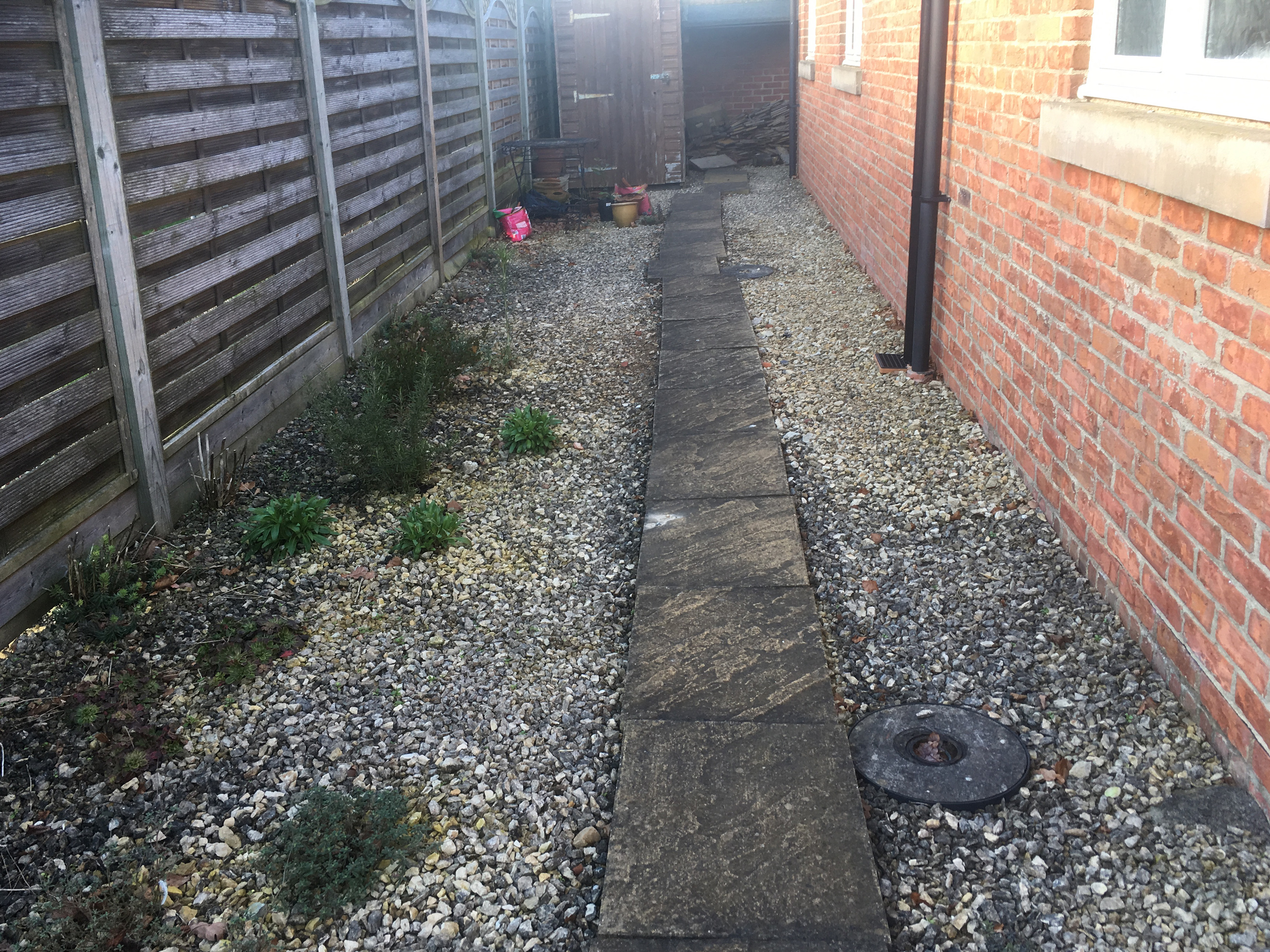 Lowfield cottage path before