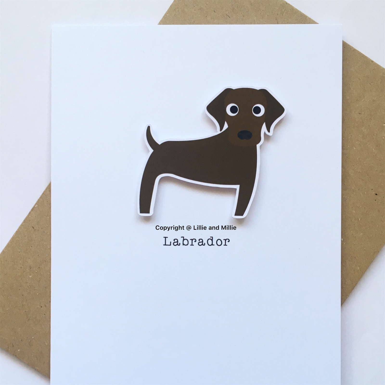 Cute and Cuddly Chocolate Labrador without Bandana or Bow Card