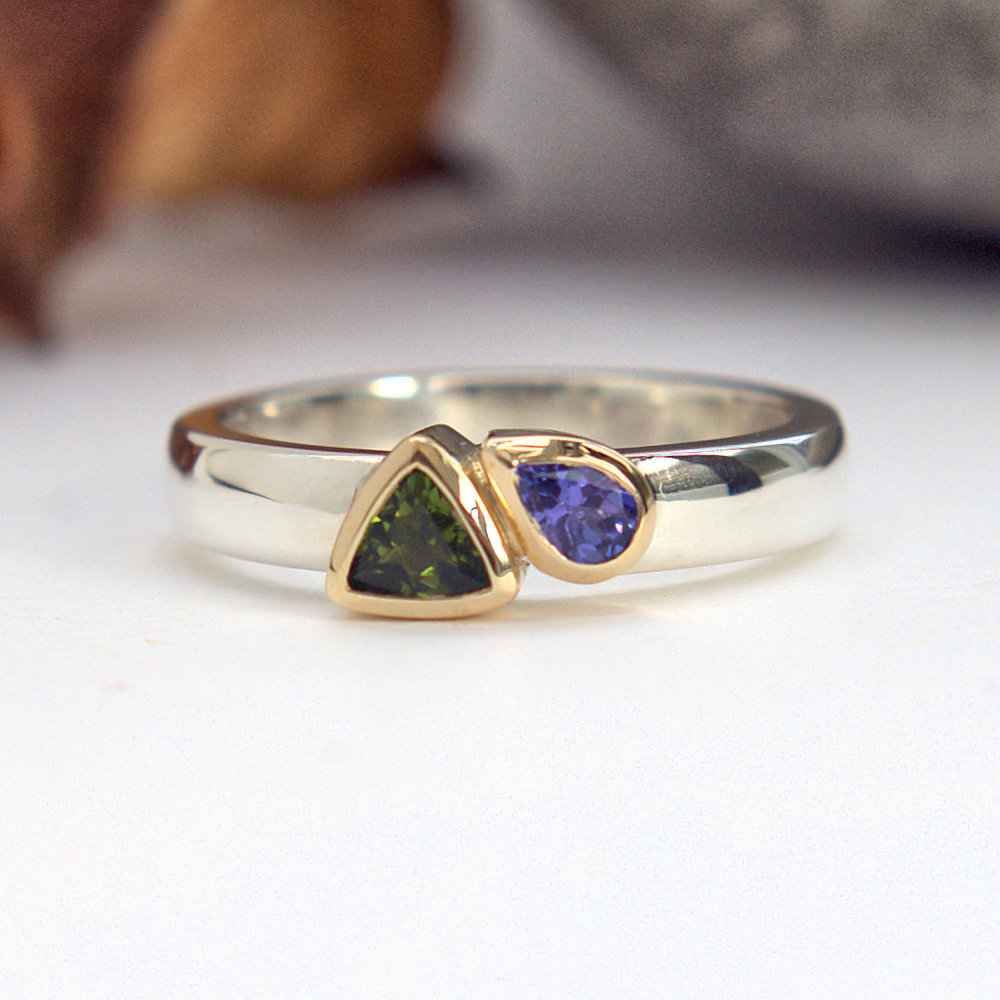 Green Tourmaline Tanzanite ring