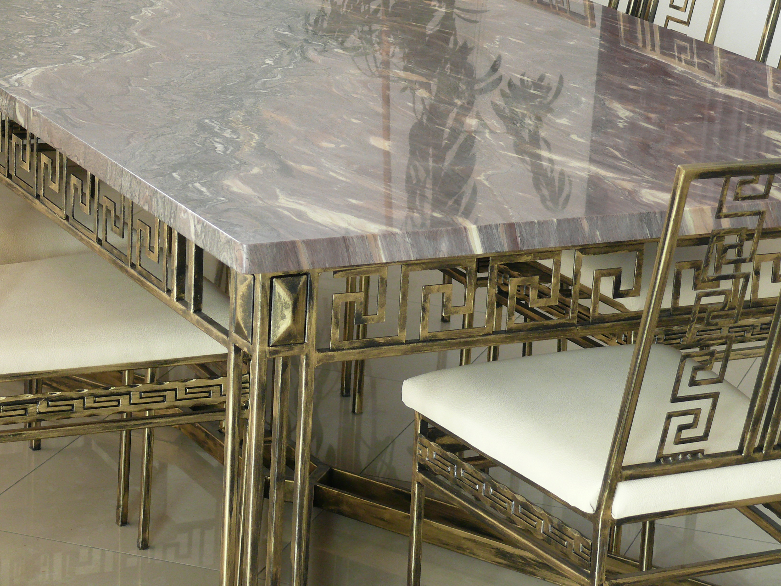 Marble Granite Top Conference Dining Table 8 Chairs
