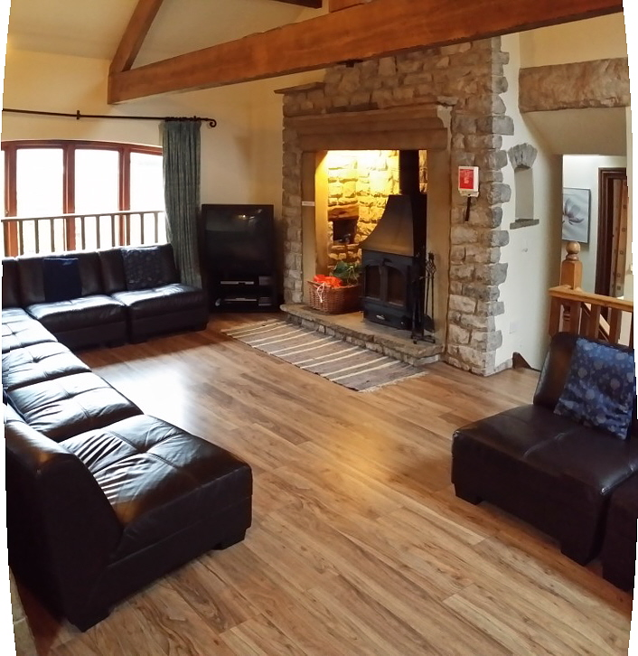living room with real wood burner