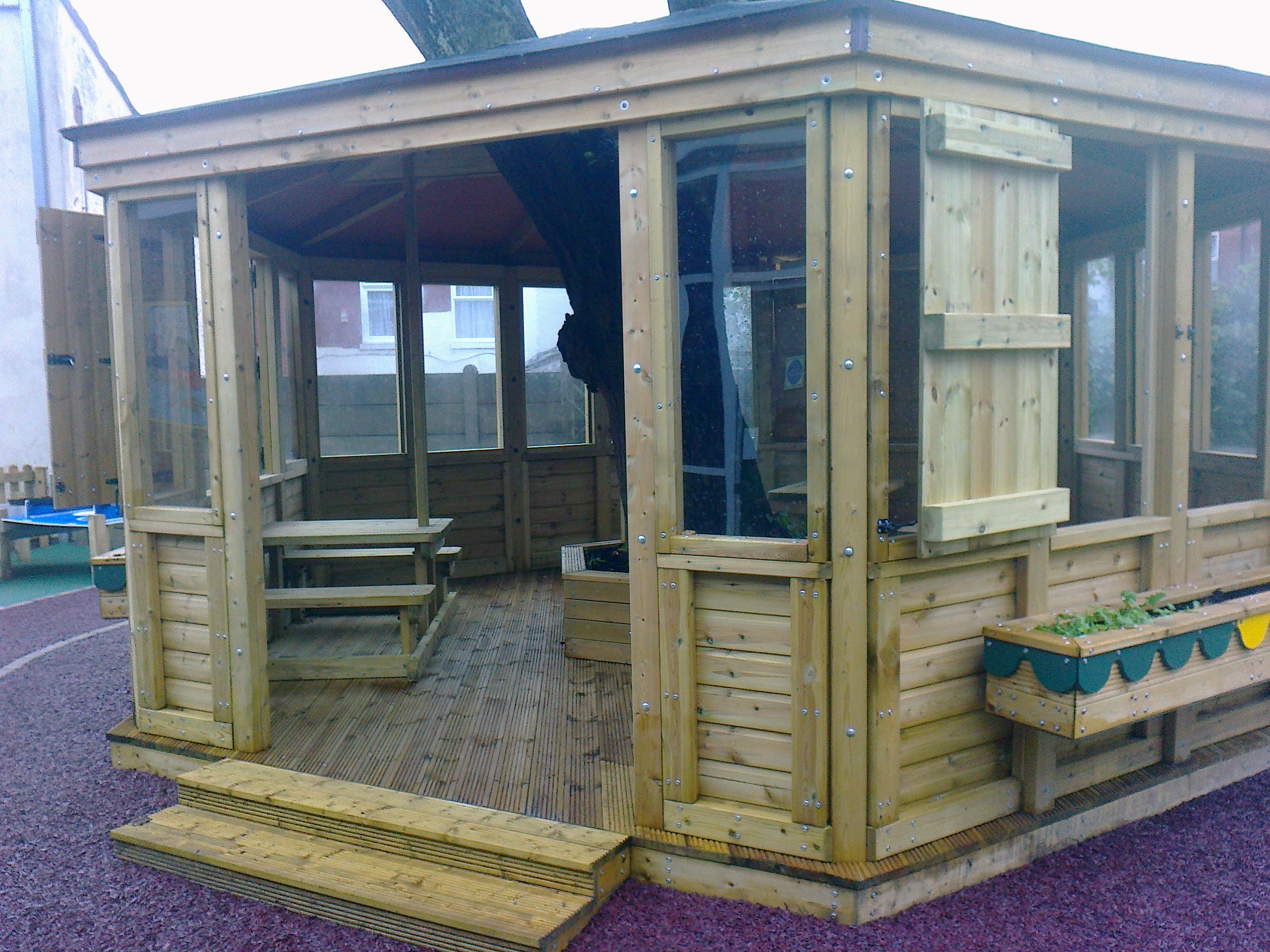 Custom built outdoor classrooms and gazebos for Built in gazebo