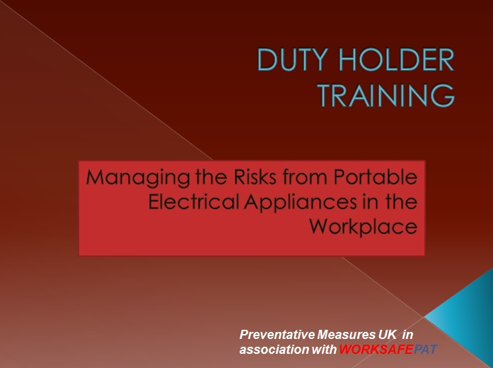 duty holder training- managing the risks from portable electrical equipment