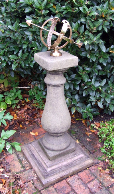 STONE GARDEN LARGE BALUSTRADE MEDIUM ARMILLARY SUNDIAL
