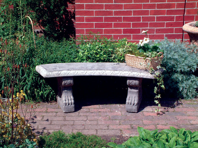 STONE GARDEN CURVED PATTERNED BENCH TOP ON SCROLL BENCH BASES