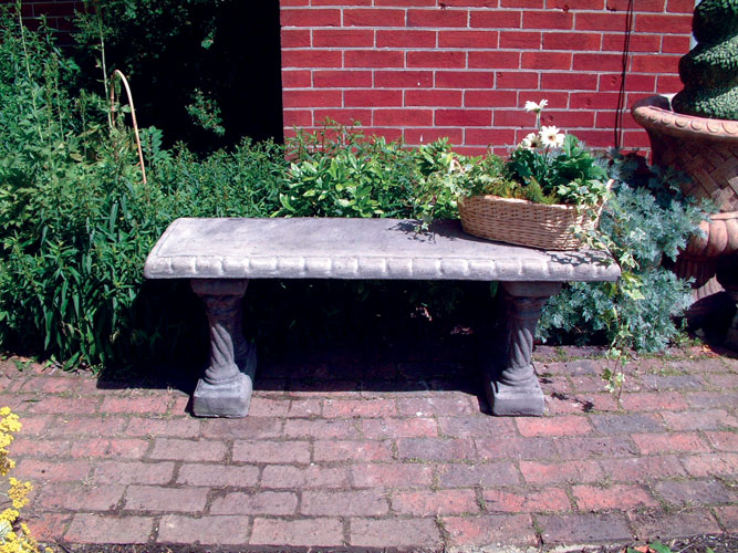 STONE GARDEN STRAIGHT PATTERNED BENCH TOP ON COLUMN BENCH BASES