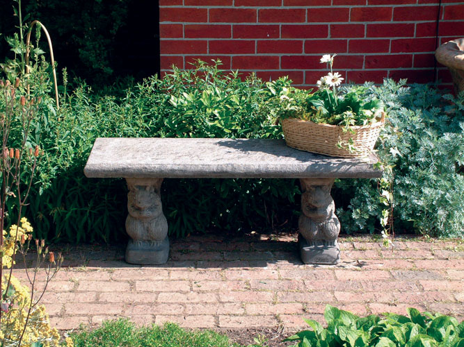 STONE GARDEN STRAIGHT PLAIN BENCH TOP ON SQUIRREL BENCH BASES