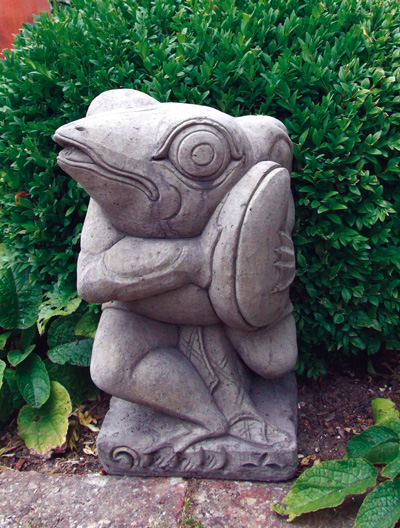 FROG WITH CYMBALS STONE GARDEN STATUE