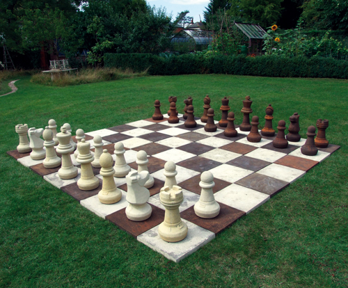 CHESS SET STONE GARDEN FEATURE