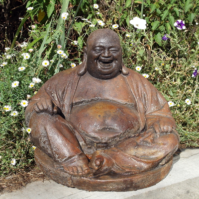 LARGE LAUGHING BUDDHA STONE GARDEN STATUE