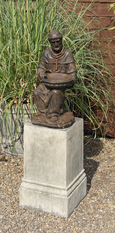 STONE GARDEN ST FRANCIS OF ASSISI STATUE IN BURNT UMBER BURNISHED BRONZE