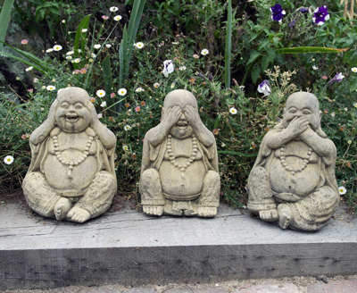 three wise buddhas stone garden statue