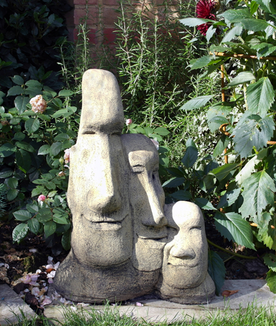 STONE GARDEN MADONNA AND CHILD AND FRIAR