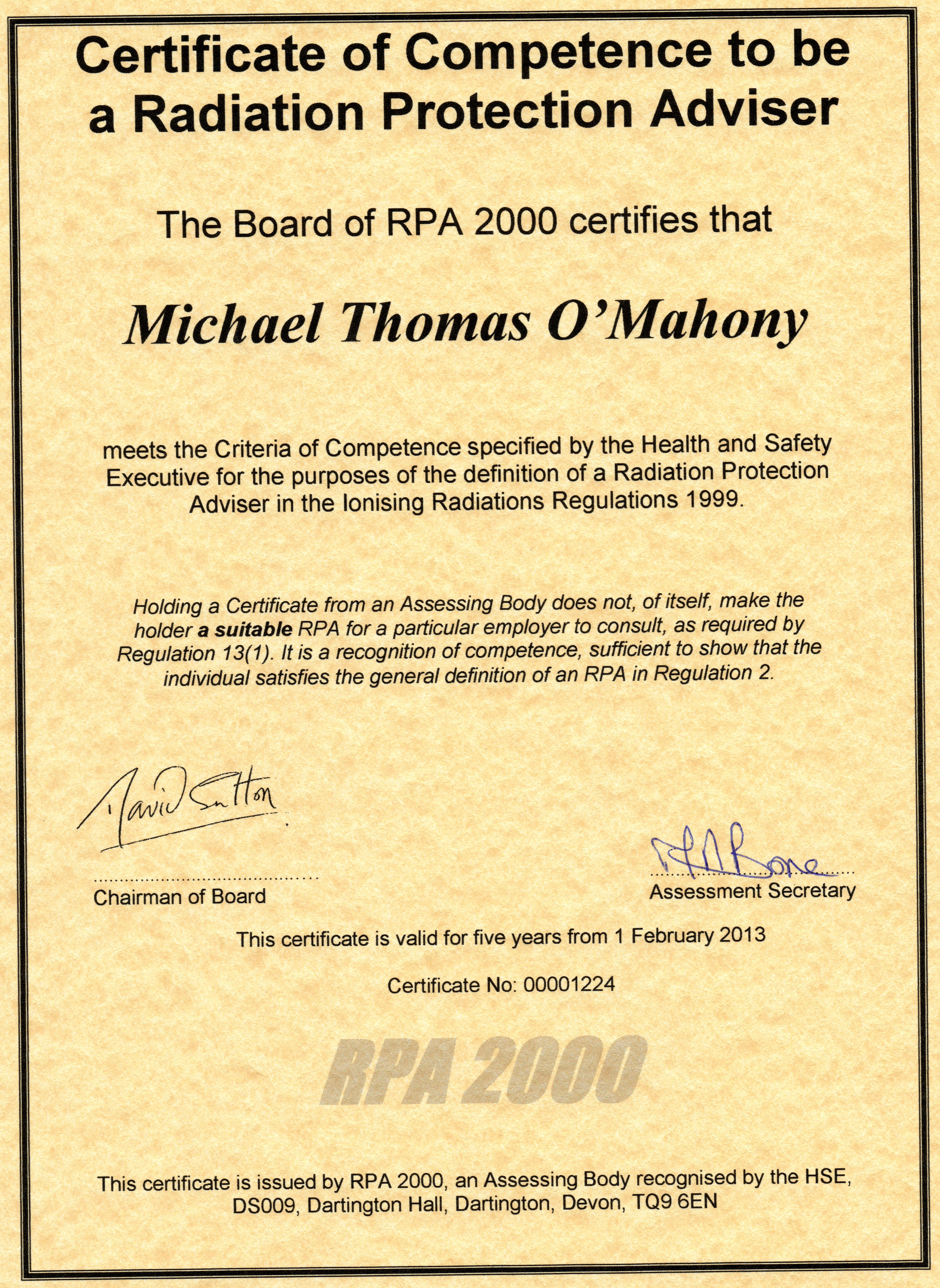 Rpa Certification And Qa Details