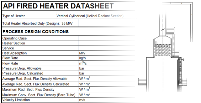 Heater560 Fired Heater Simulation Software Datasheets and Drawing