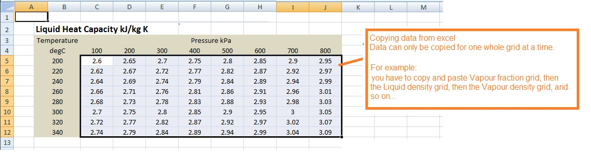 Pasting Physical Properties from Excel Fired Heater Simulation Software - Heater560 Screenshot