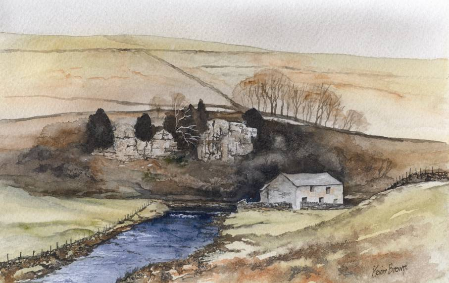 Above Keld in Swaledale, watercolour print by Kevin Brown