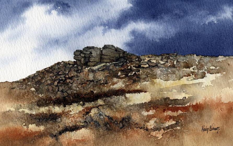Blacktone Edge near Littleborough, watercolour print by Kevin Brown