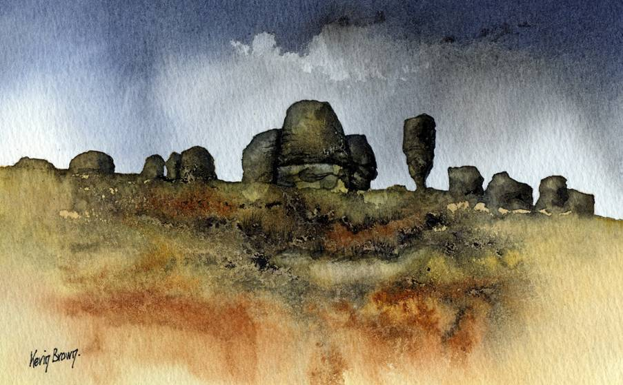 The Bridestones, near Todmorden, watercolour print by Kevin Brown