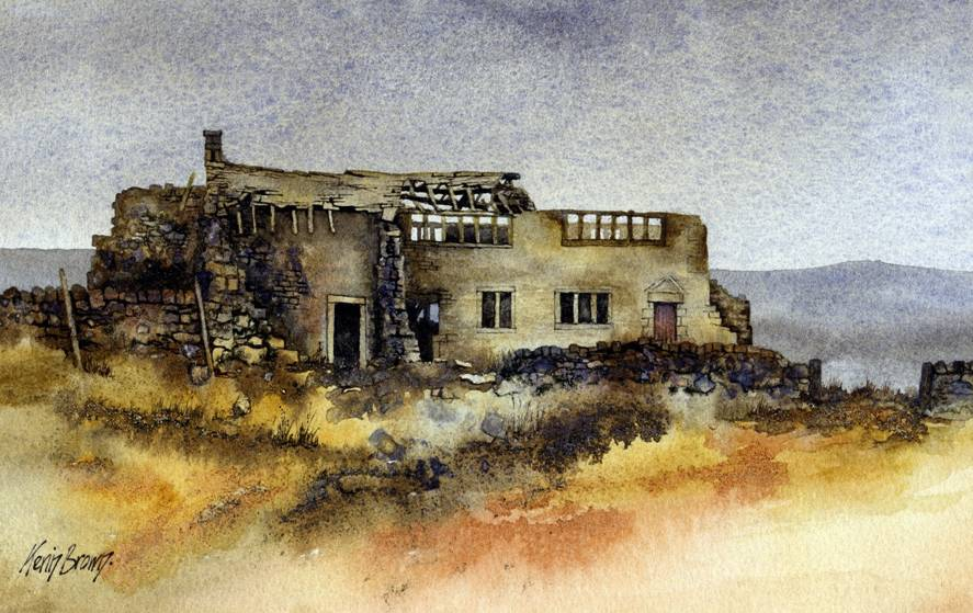 Derelict cottage near Hebden Bridge, watercolour print by Kevin Brown