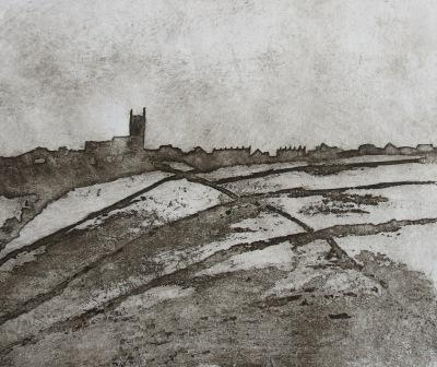 hewptonstall Church, etching by Kevin Brown