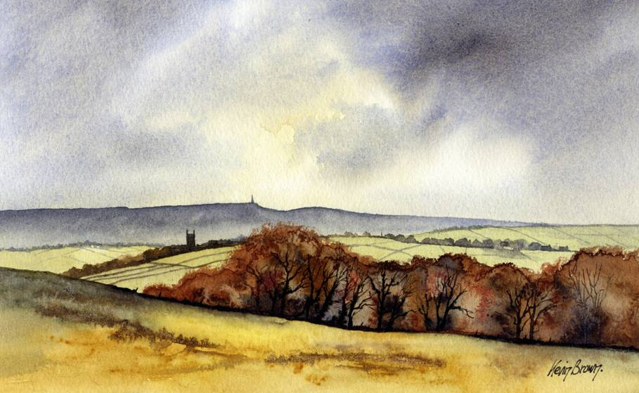 Heptonstall Church with Studley Pike in the distance, watercolour print by Kevin Brown