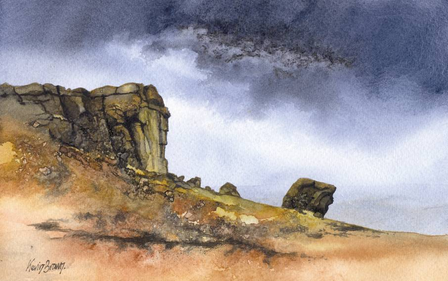 Cow and Calf rocks near Ilkley, watercolour print by Kevin Brown