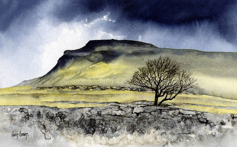 Ingleborough, North Yorkshire, watercolour print by Kevin Brown