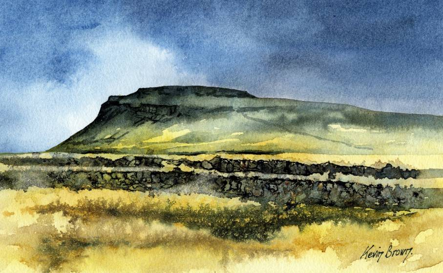 Ingleborough, North Yorkshire,watercolour print by Kevin Brown